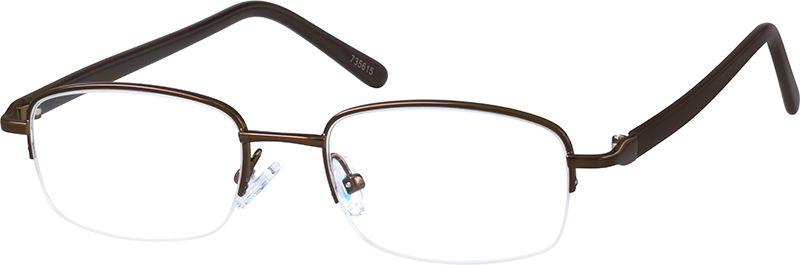 1e6c322ff09 Zenni Mens Rectangle Prescription Eyeglasses Half-Rim Brown Plastic 735615