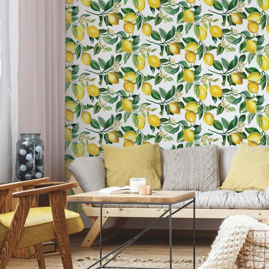 Lemon Zest Peel And Stick Wallpaper Peel And Stick Wallpaper Room Visualizer Roommate Decor