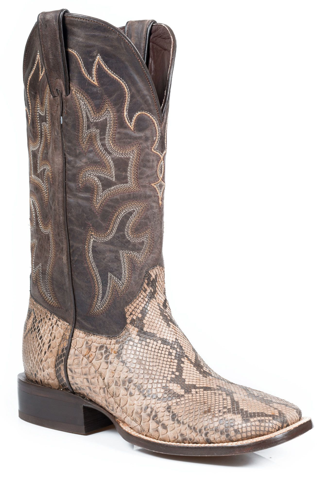 8196bae37c7 Stetson Mens Exotic Square Toe Boots Python Taupe Matte