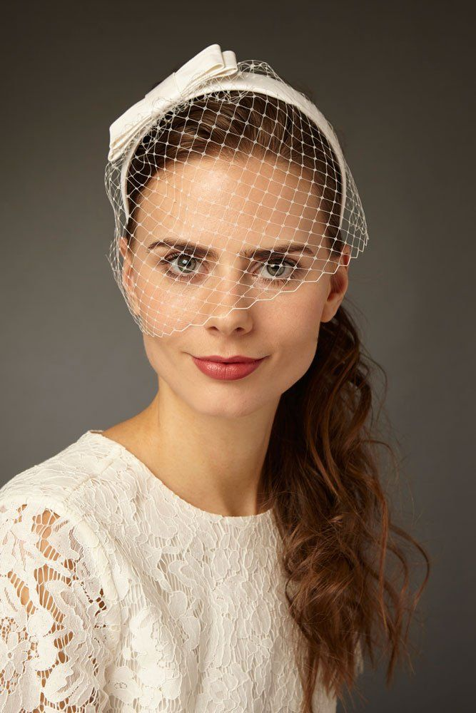 Bridal Birdcage Veil Headband with Silk Bow   Ines by Cappellino Millinery  Tocados 5da931fcf8c