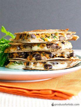 Sweet Potato Black Bean Quesadillas Produce For Kids Recipe Recipes Sweet Potato Quesadilla Vegetarian Dishes
