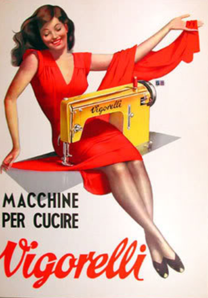Vintage poster for Vigorelli sewing machines. Illustration by Gino Boccasile.
