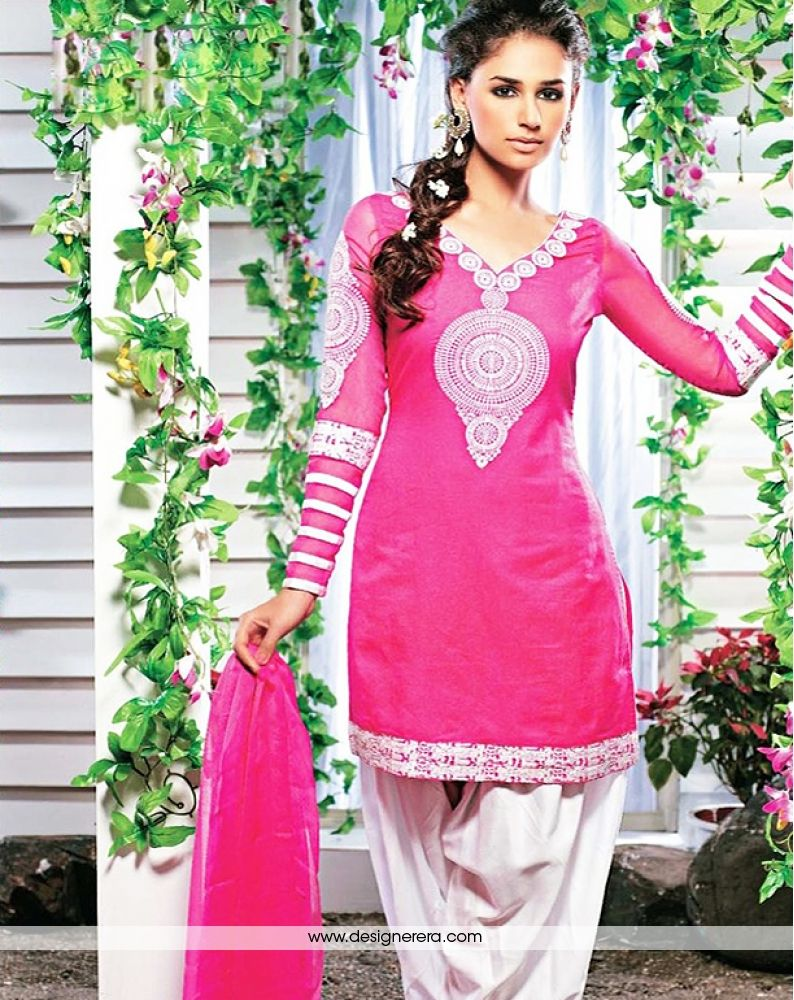02d1b188ce6f8 Occasion Party Wear Collection Punjabi Suit Color Pink,Off white Fabric  Cotton Silk Work Embroidered Season Any Weight 1 K.G
