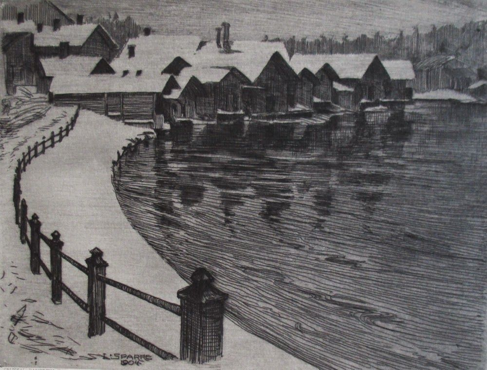 Winter: an etching by Louis Graf Sparre