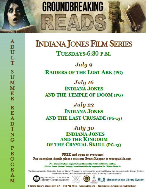 Indiana Jones film series as part of our Adult Summer Reading Program! Tuesdays in July at 6:30 pm.