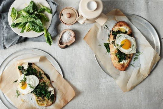 Sunday Brunch - toast, sunny side up eggs with dill and burratta (sp)