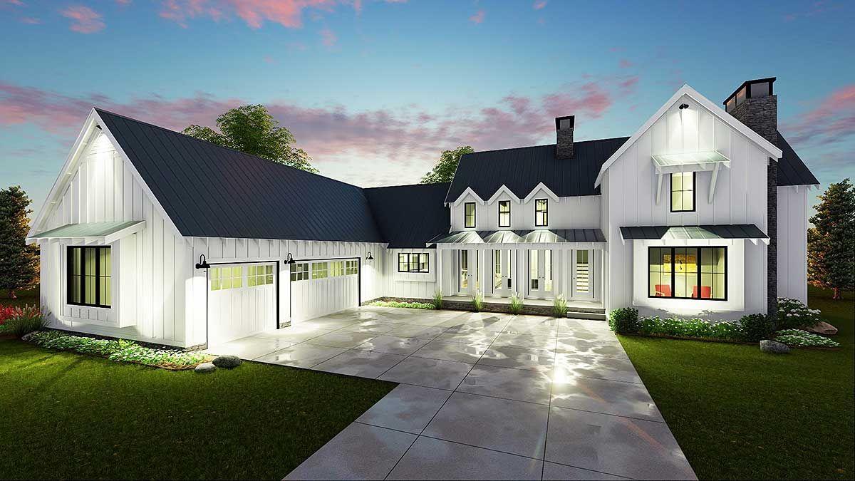 Plan 62544DJ Modern 4 Bedroom Farmhouse Plan Farmhouse