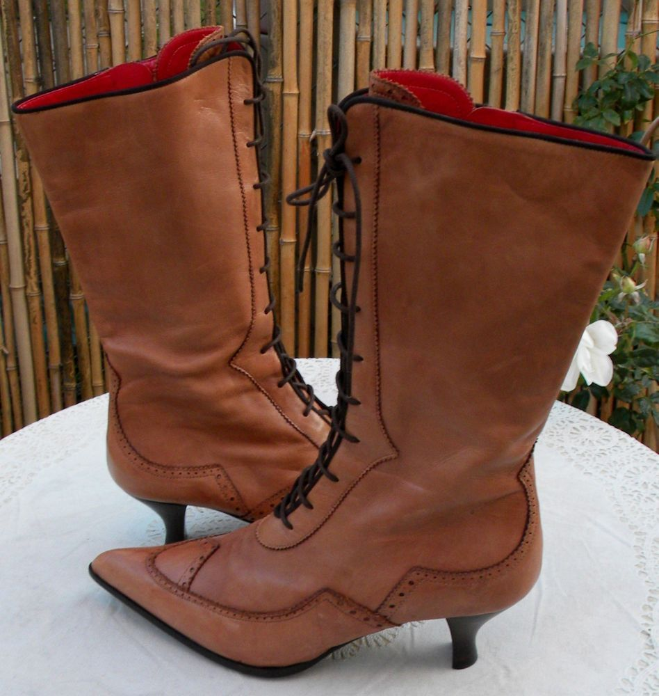 New Italian Caravelle Antique Victorian Style Light Brown Leather Lace-up Boots  #Caravelle ~ Again, WHY ZIPPERS?!?!?!