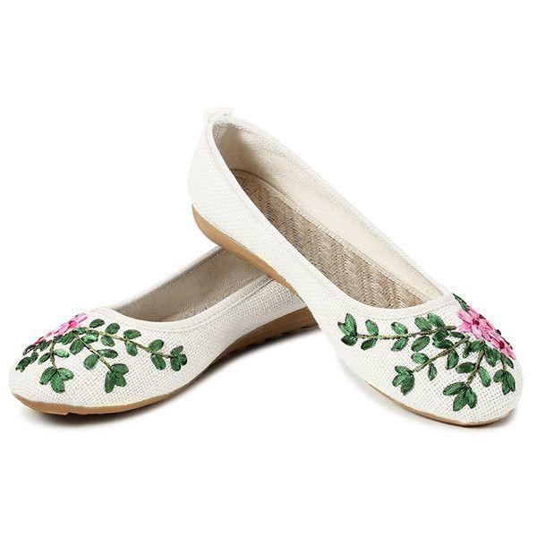 Feuille Fleur De Lin Perméable À L'air Glissement Du Vent National Léger Vintage Sur Des Chaussures Plates weBa0GPuk