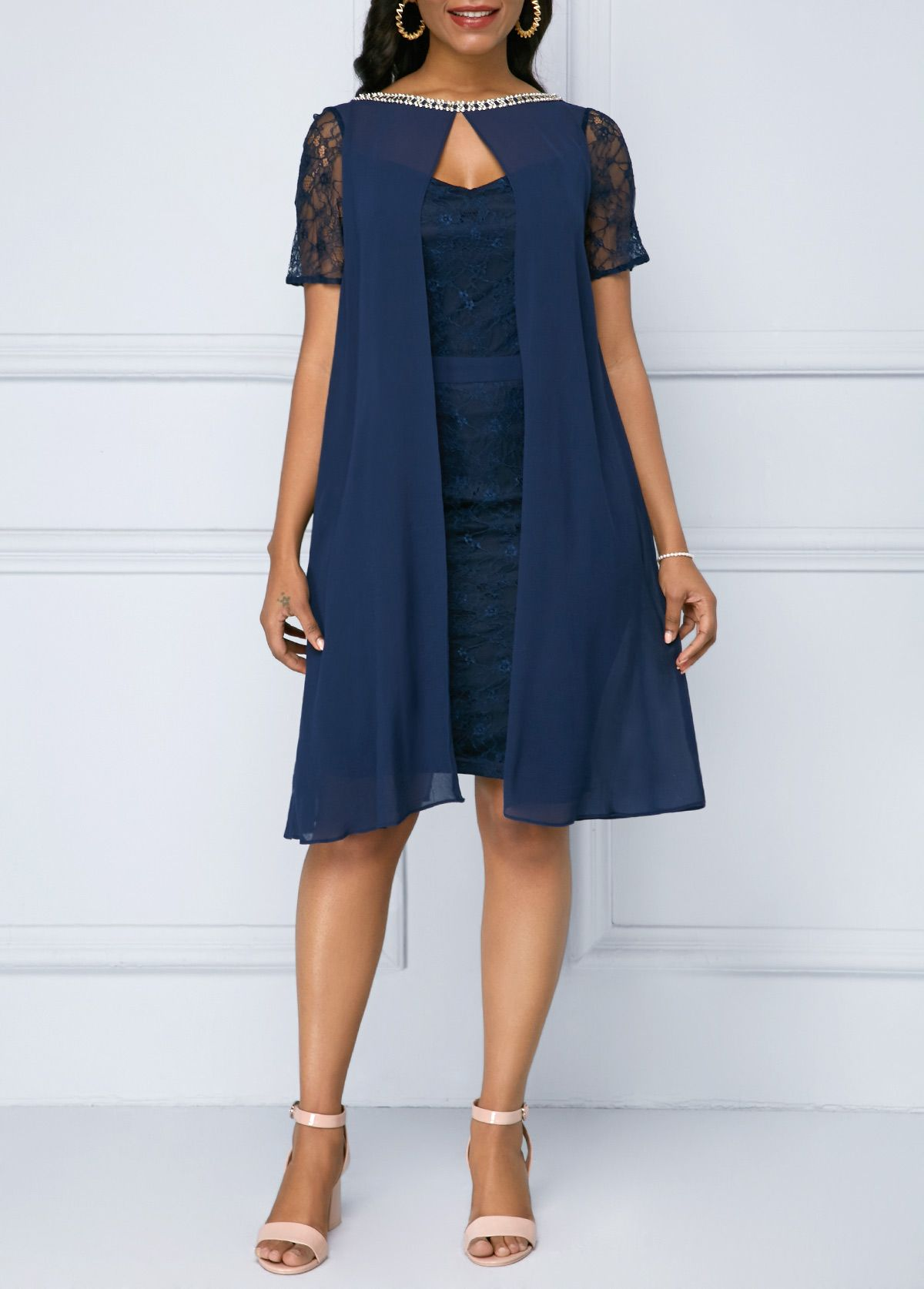e45eedbd56e1c Embellished Neck Navy Blue Chiffon Overlay Lace Dress | Dress in ...