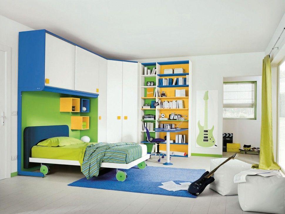 Libreria Cameretta ~ Cameretta golf libreria in bianco opaco pistacchio cobalto e