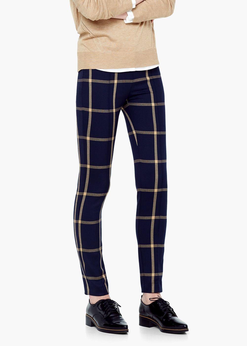 Geruite broek - Broeken voor Dames | MANGO