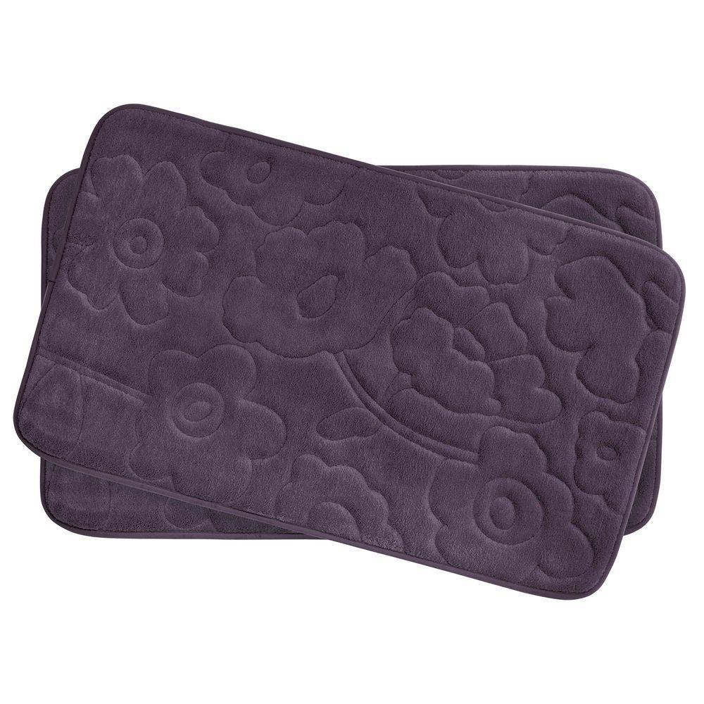 Bouncecomfort Stencil Floral Plum Purple 17 In X 24 In Memory