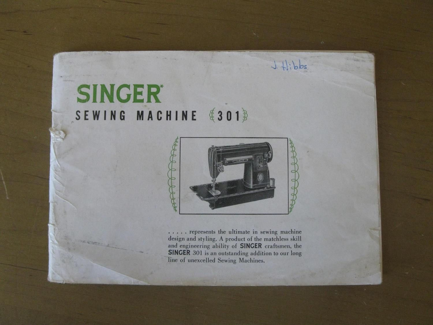 Original SINGER 301 Sewing machine instruction book - MODEL