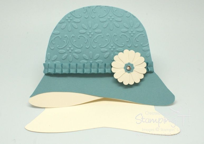 Stampin Up Stamping T Cloche Hat Blue Fancy Fold Cards Embossed Cards Handbag Card