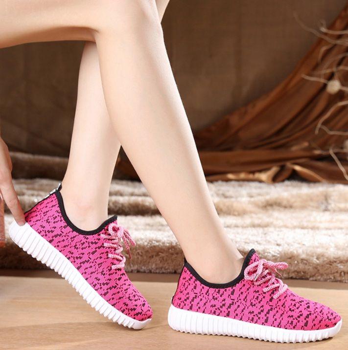 Sapatos mujeres moda sport zapatos de malla fresco resbalón en los zapatos  planos de la señora