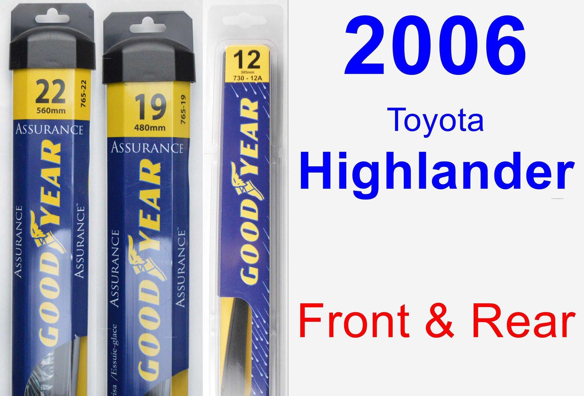 Front & Rear Wiper Blade Pack for 2006 Toyota Highlander
