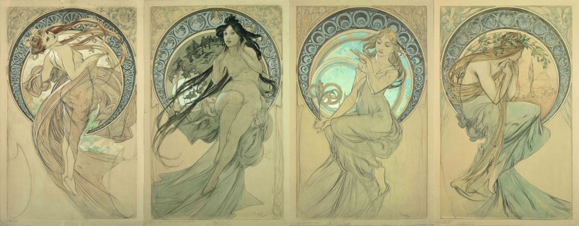 Alphonse Mucha Study For The Arts Dance Music Painting Poetry