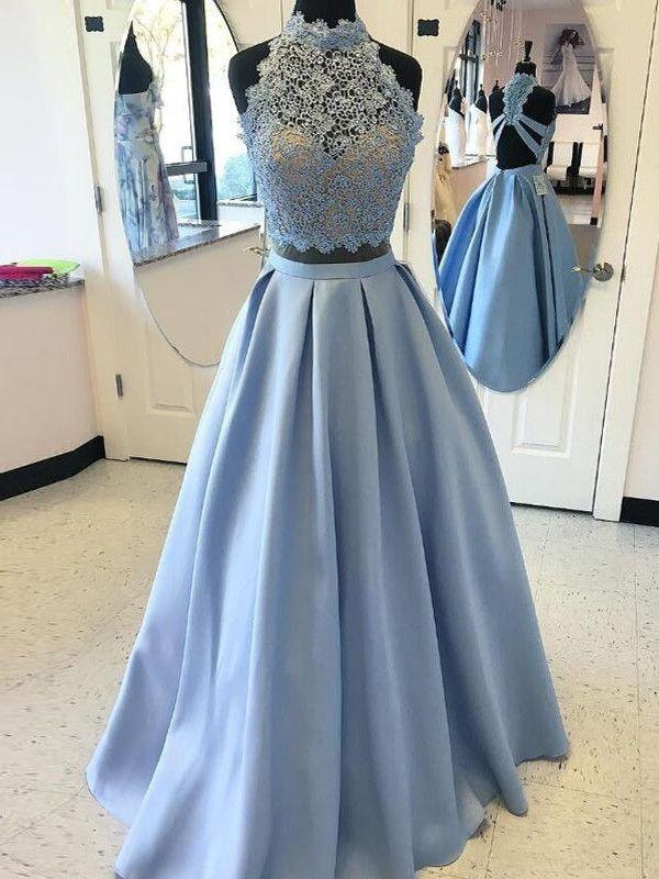 77b85b9d40 Ball Gown High Neck Sleeveless Floor-Length Applique Satin Two Piece Dresses  JollyProms