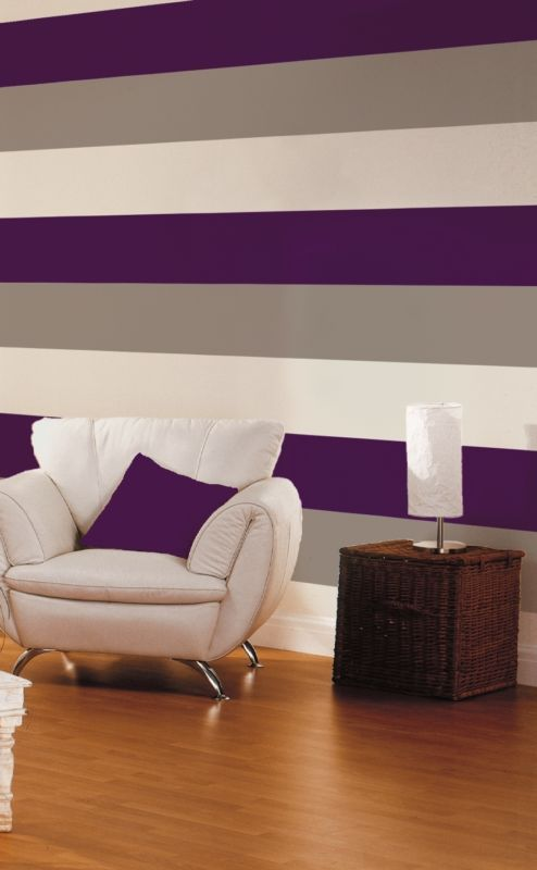 Purple Striped Wallpaper And Contrasting Chair Ideas For