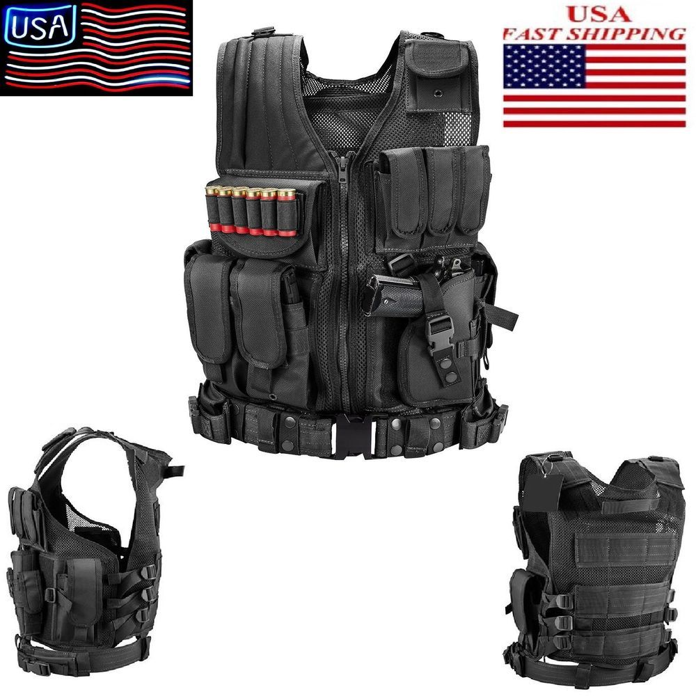 Tactical Vest Left Handed Law Enforcement Gear Military Police Swat Holster New