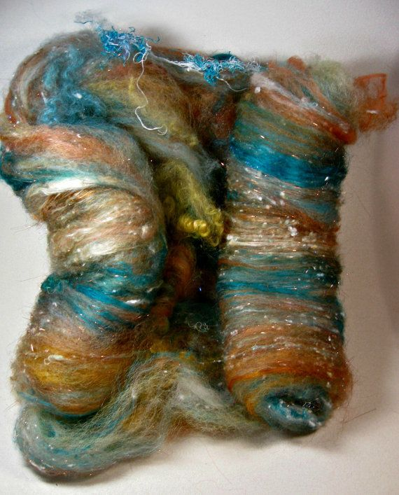 Copper Turquoise Wild Card Bling Batt for spinning by yarnwench