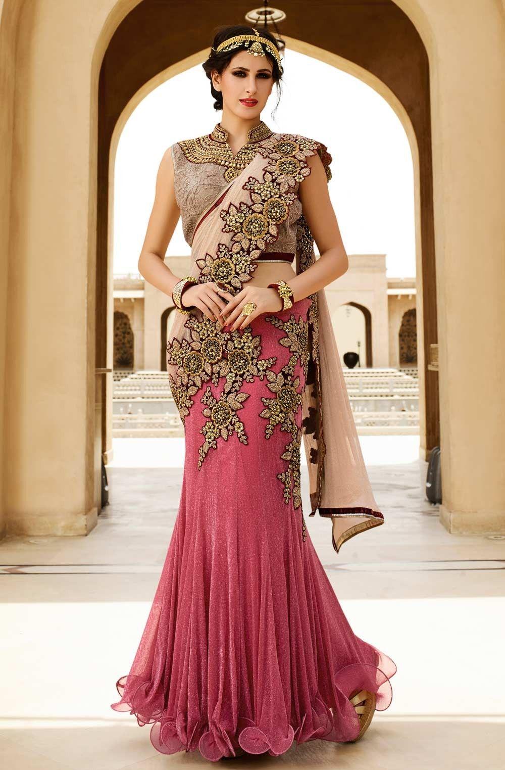 Bollywood Style Exclusive Wedding Wear Designer Saree With Blouse Lehenga Saree Design Lehenga Style Saree Saree Designs