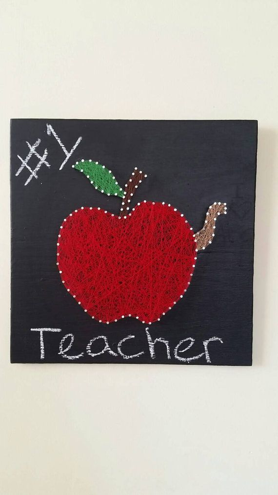 Perfect Teachers Gift Of A String Art Apple On Chalkboard Background At Etsy Listing 259607862 Teacher
