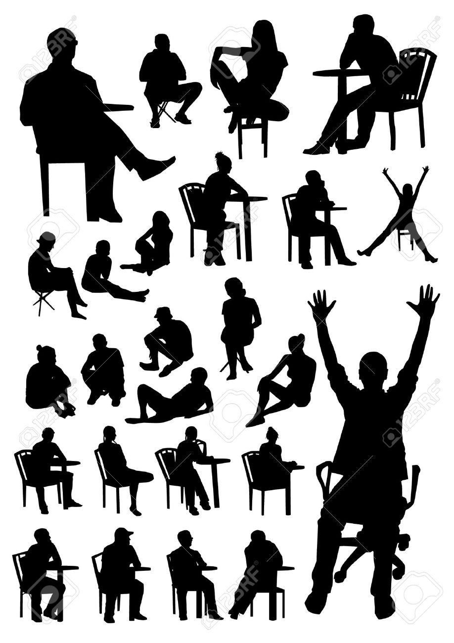 Sitting people silhouettes | Interiorismo | Pinterest | Silhouettes