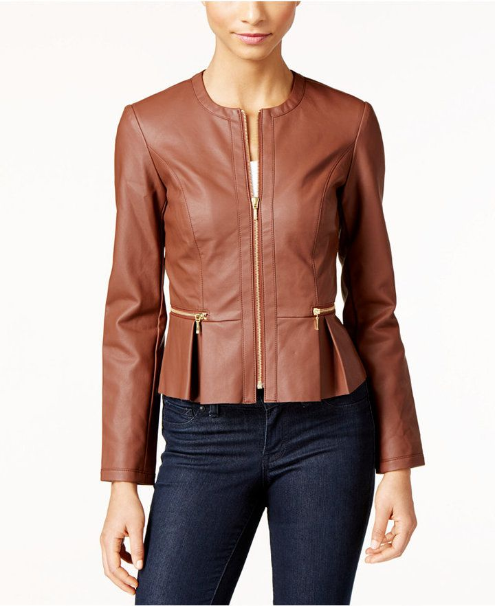 INC International Concepts Petite Faux-Leather Peplum Moto Jacket ...