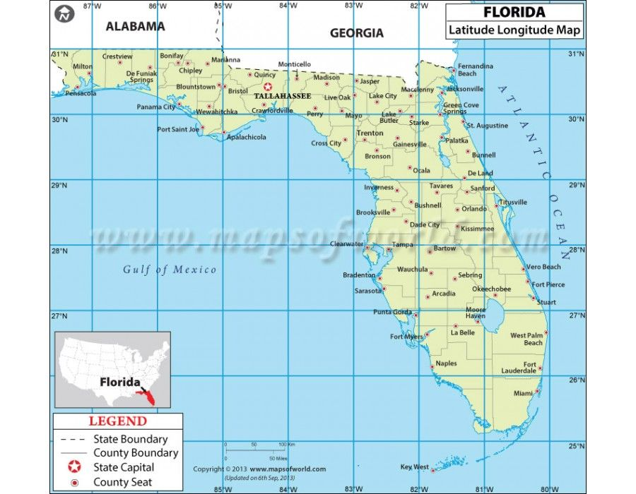 Buy Florida Latitude And Longitude Map Plants - Argentina map latitude