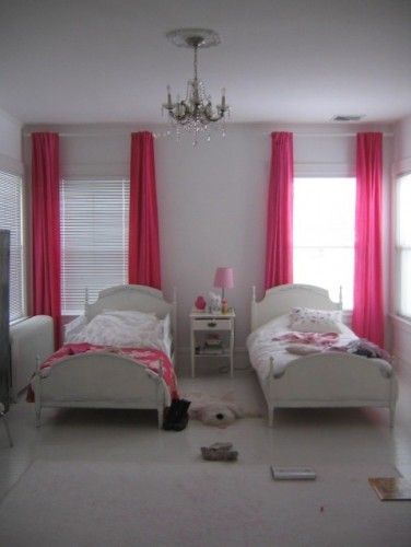 Like The Soft Grey Walls Contrasting With The Hot Pink Curtains