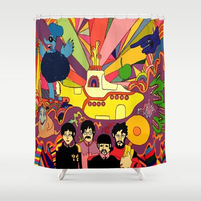 Beatles Yellow Submarine Shower Curtain For The Bathroom Decor Yellow Submarine Beatles Yellow The Beatles
