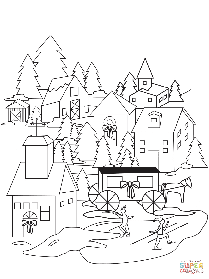 Christmas Village Coloring Pages Christmas Coloring Pages Free Printable Coloring Pages Christmas Coloring Books