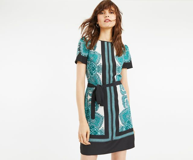 Oasis, PAISLEY SHIFT DRESS Multi Green