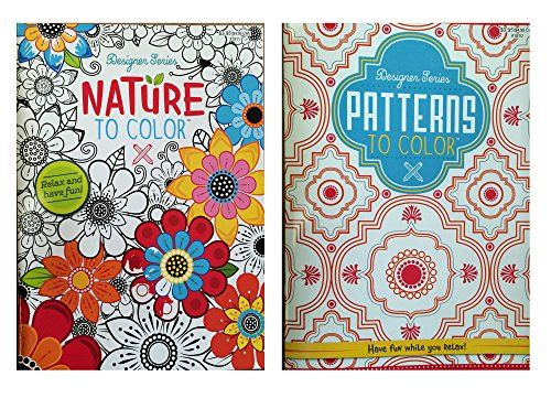 designer series patterns to color nature to color adult coloring book set kappa book publishers - Coloring Book Publishers