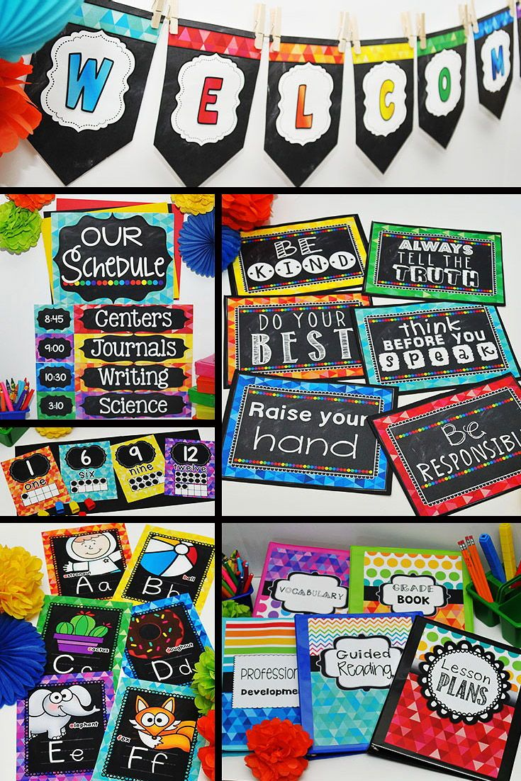 Chalkboard Brights Classroom Decor Bundle #elementaryclassroomdecor