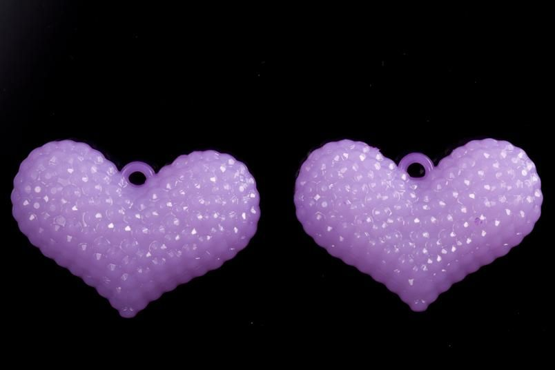 Globule heart purple jelly acrylic charms 59x40mm at $1.57/117G/5PCS, shop plastic beads at Beadingsupplys.com