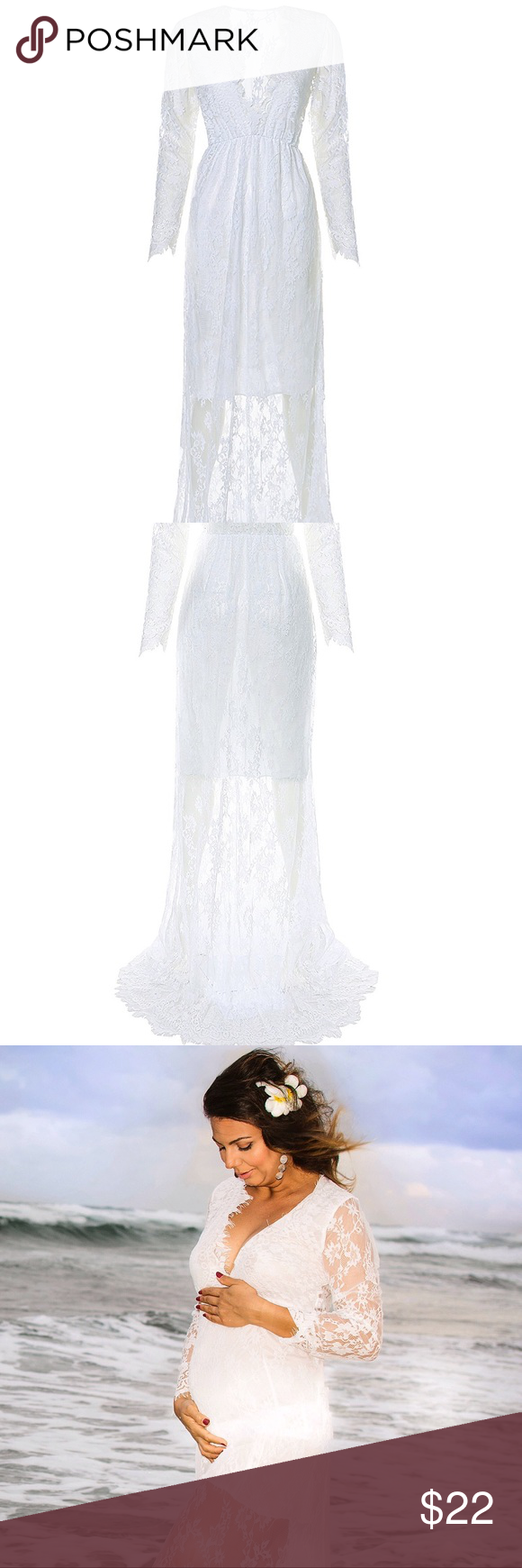 Deep vneck long sleeve lace seethrough dress bebe bebe