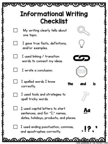 Help My Students Don T Write Enough Learning At The Primary Pond Writing Instruction Writing Rubric Writing Checklist