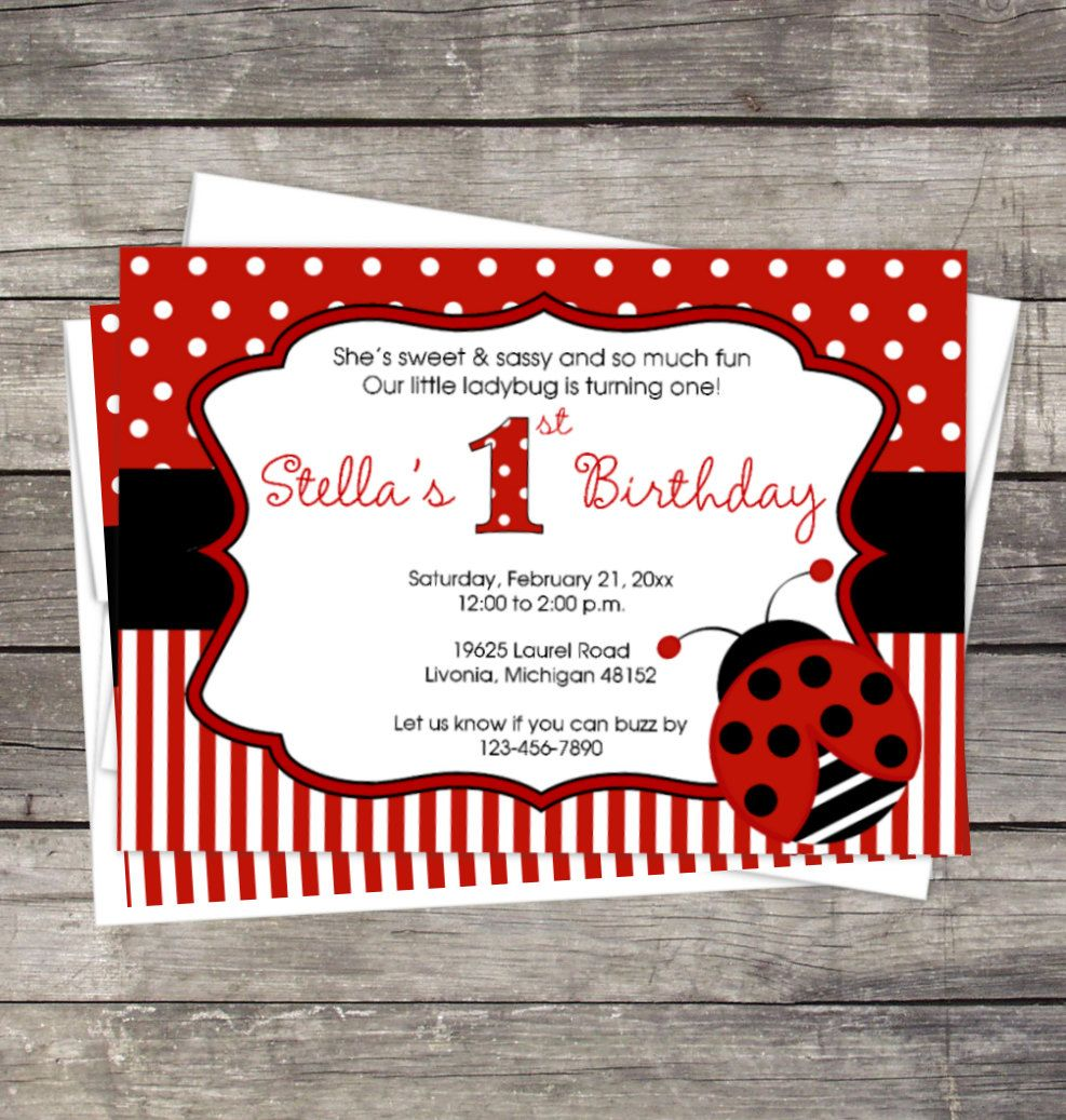 Ladybug Birthday Party Invitation Customized for you DIY or ...