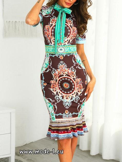 Elegantes Print Bleistift Kleid Mit Schleife Und Armel Kleid Mit Schleife Kurze Kleider Mit Armeln Mode Muster