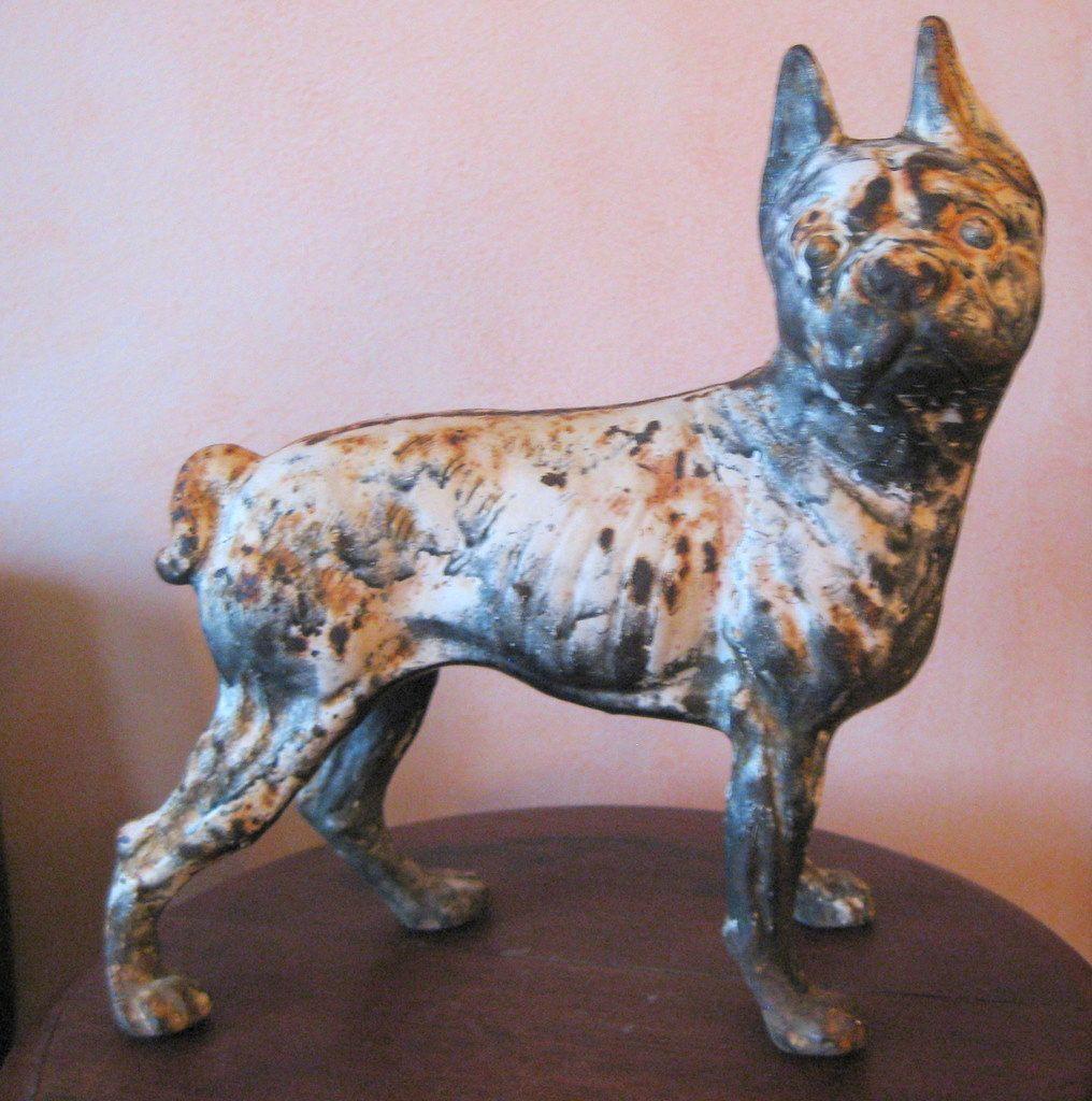 Antique Hubley Boston Terrier Dog Door Stop Cast Iron 1800s