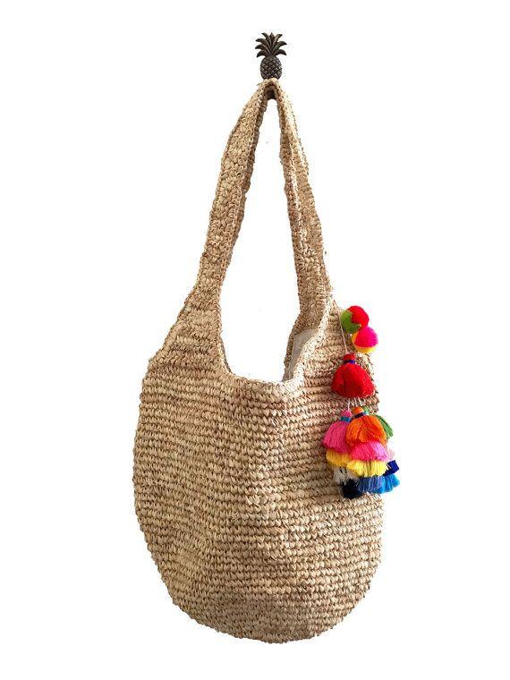 Hobo Straw Bag, Hobo Sling Bag, Resort Bag, Natural Raffia Straw ...