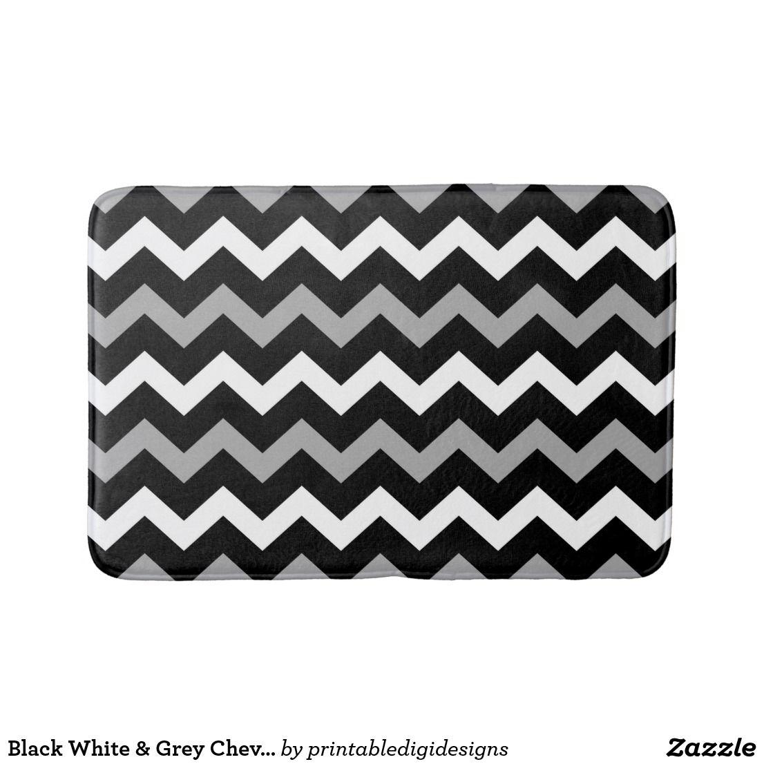 Black White Grey Chevron Print Pattern Bath Mat Zazzle Com