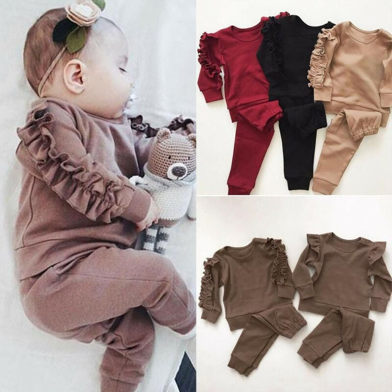 Legging Pants Set Kids Clothes Outfits 2Pcs Toddler Baby Girls Shirt Dress Tops