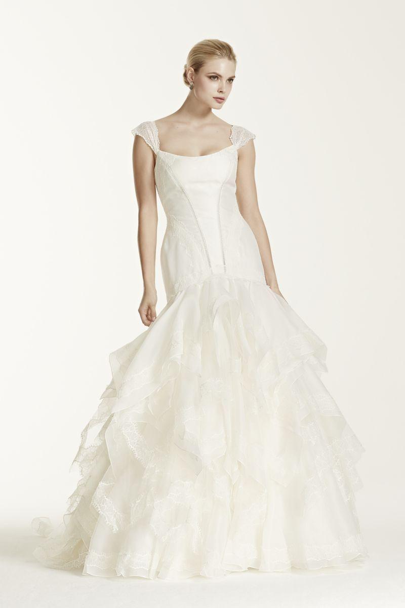 Lace cap sleeve a line wedding dress  Truly Zac Posen Wedding Dress with Lace Cap Sleeve Style ZP
