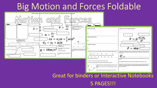 Big Motion And Forces Review Foldable For Interactive Notebooks Or