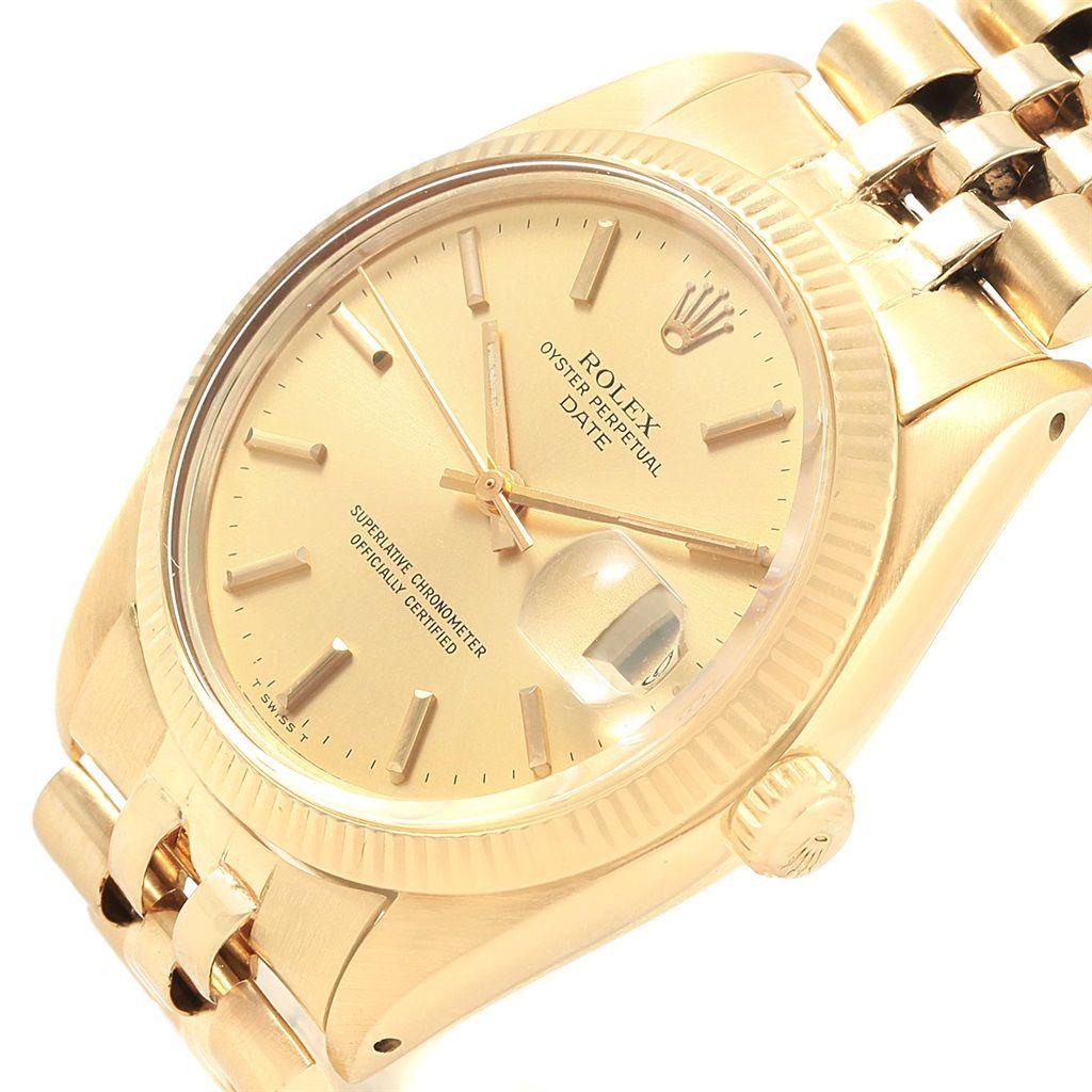 rolex date k yellow gold jubilee bracelet vintage mens watch