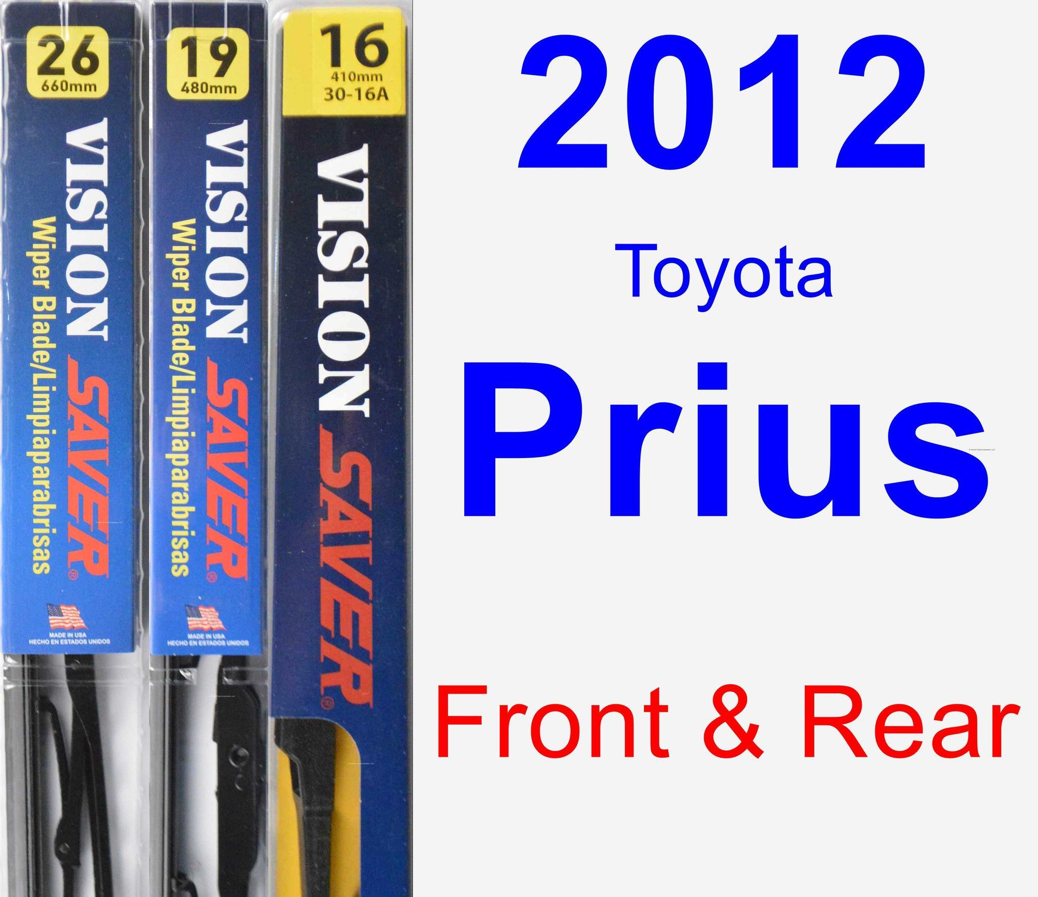 Front & Rear Wiper Blade Pack For 2012 Toyota Prius